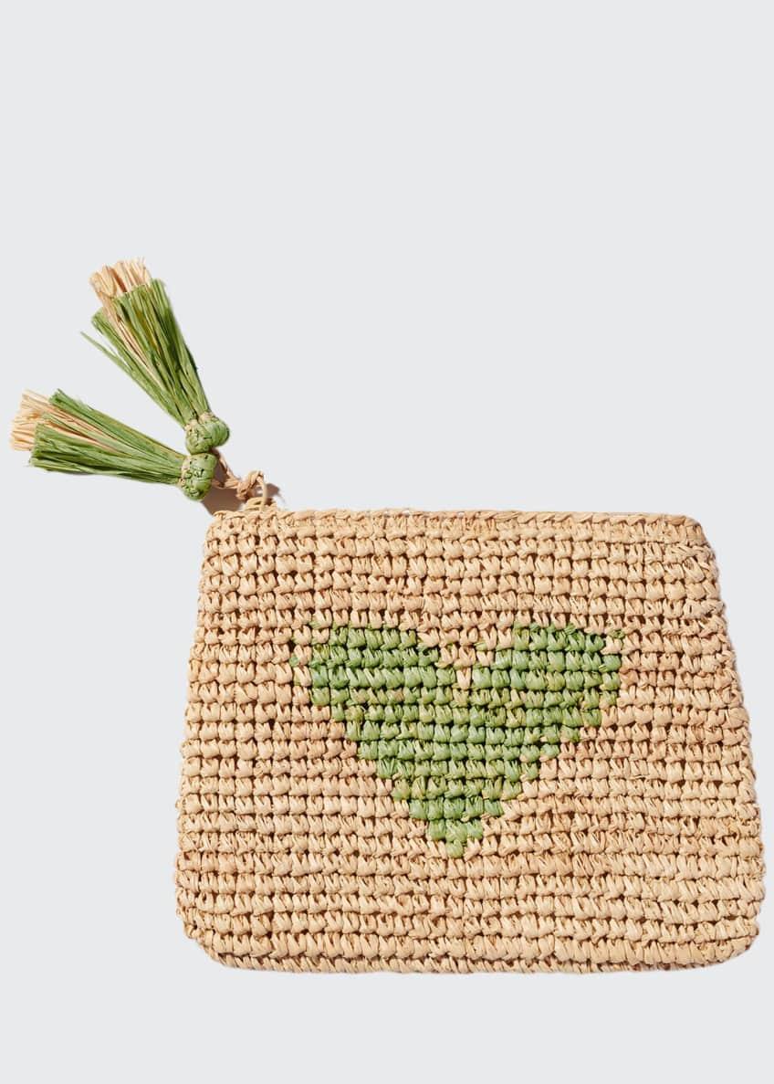 AERIN Heart Raffia Zip Pouch, Chartreuse