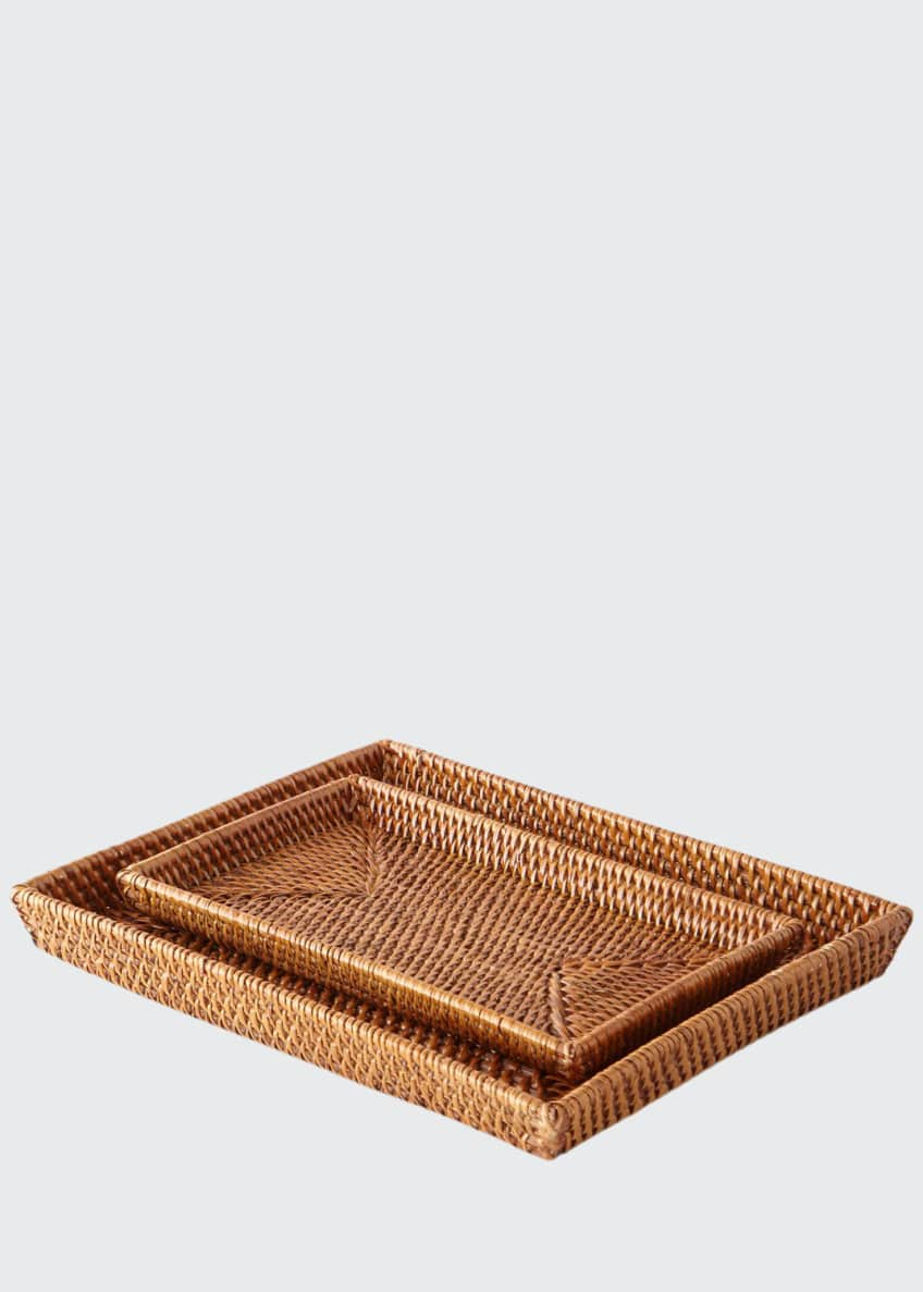 Image 1 of 2: Dalton Rattan Nested Trays