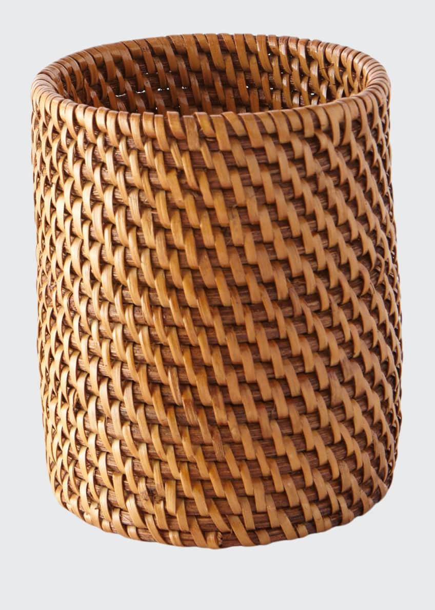 Image 1 of 2: Dalton Round Rattan Brush Holder