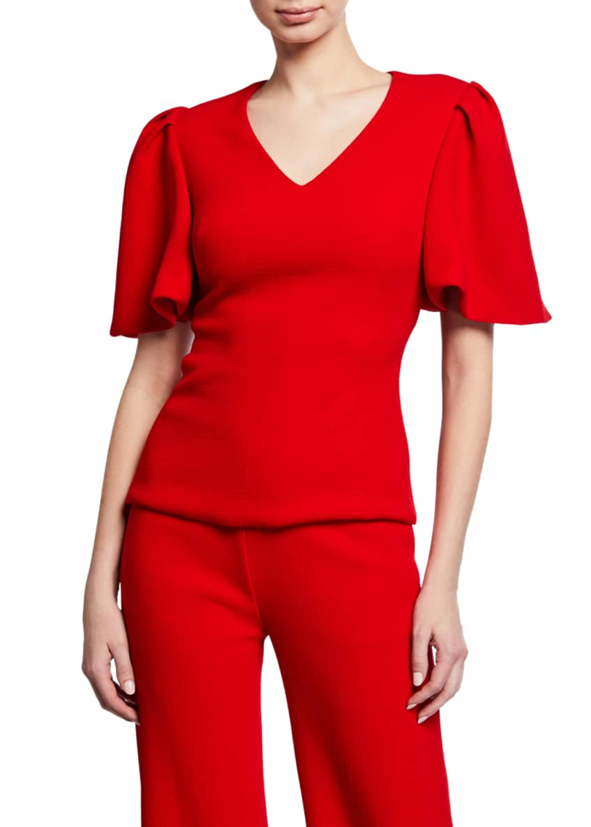 Brandon Maxwell V-Neck Flutter-Sleeve Top & Matching Items