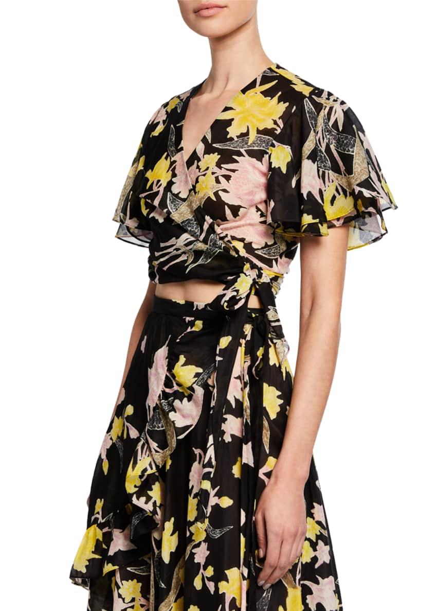 Diane von Furstenberg Sara Floral Flutter-Sleeve Wrap Top