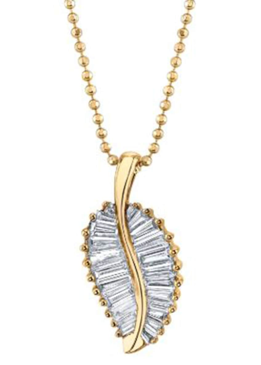 Image 1 of 1: 18k White Gold Palm Leaf Diamond Necklace