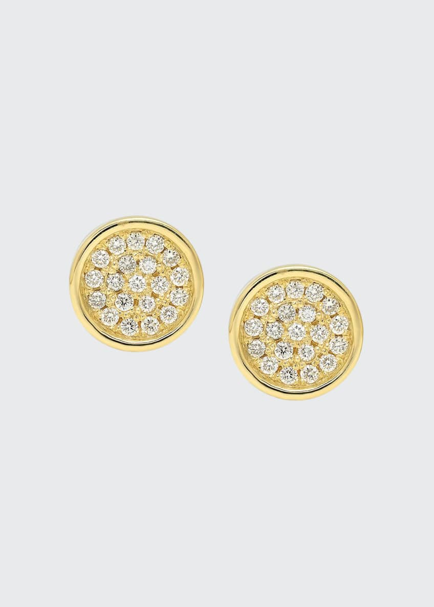 Established Jewelry 18k Diamond Pave Circle Stud Earrings