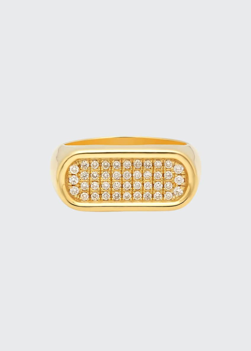 Established Jewelry 18k Gold 4-Row Diamond Stackable Ring,