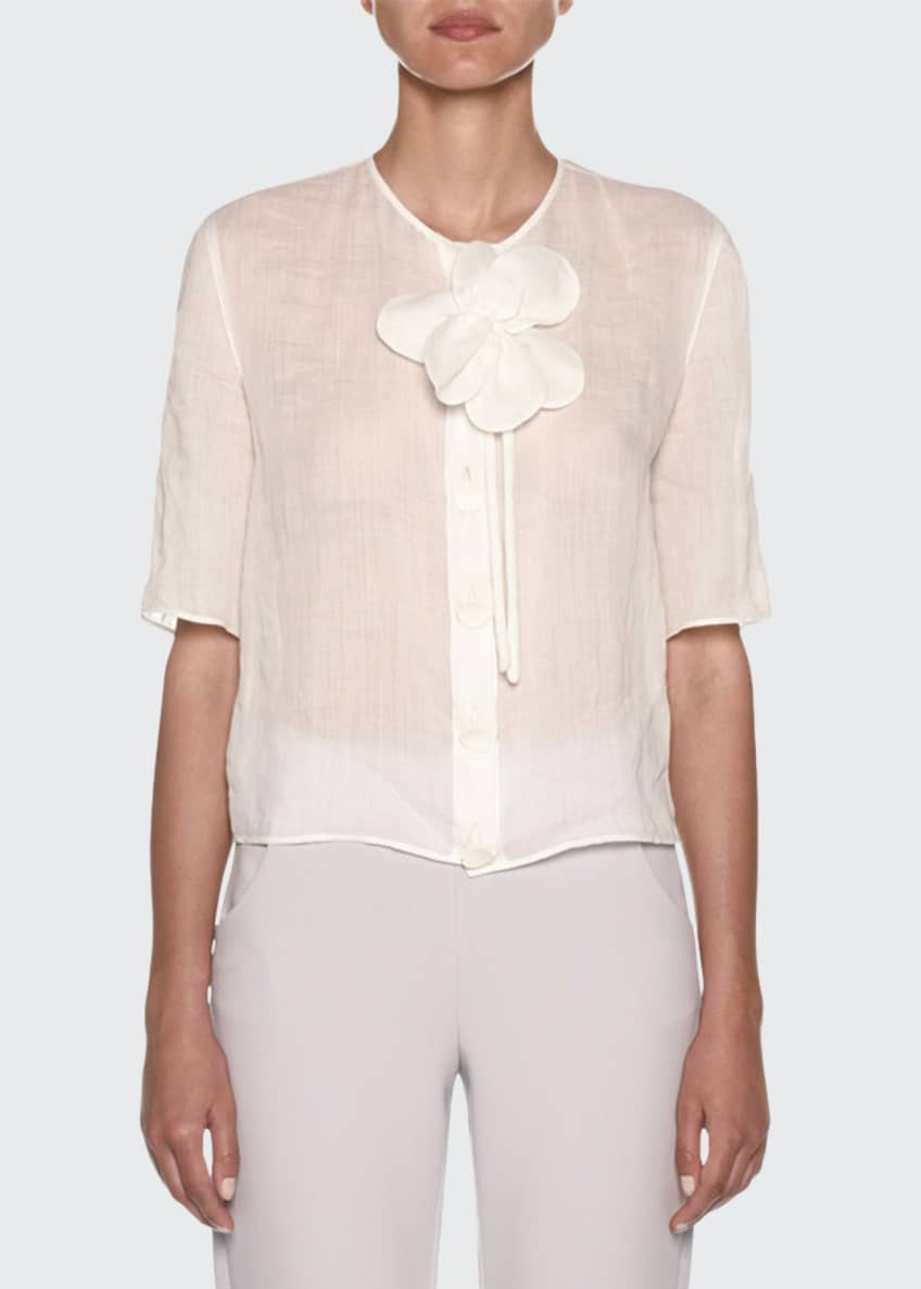 Giorgio Armani Short-Sleeve Linen Button-Front Blouse & Matching