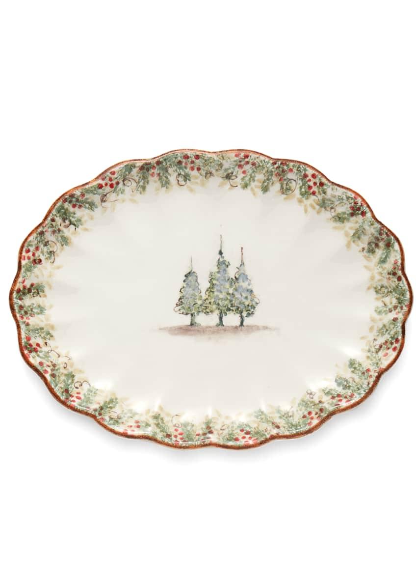 Arte Italica Natale Scalloped Oval Platter