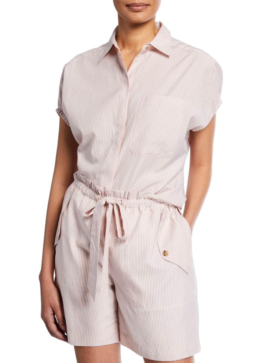 Jason Wu Tricolor Striped Button-Down Short-Sleeve Shirt &