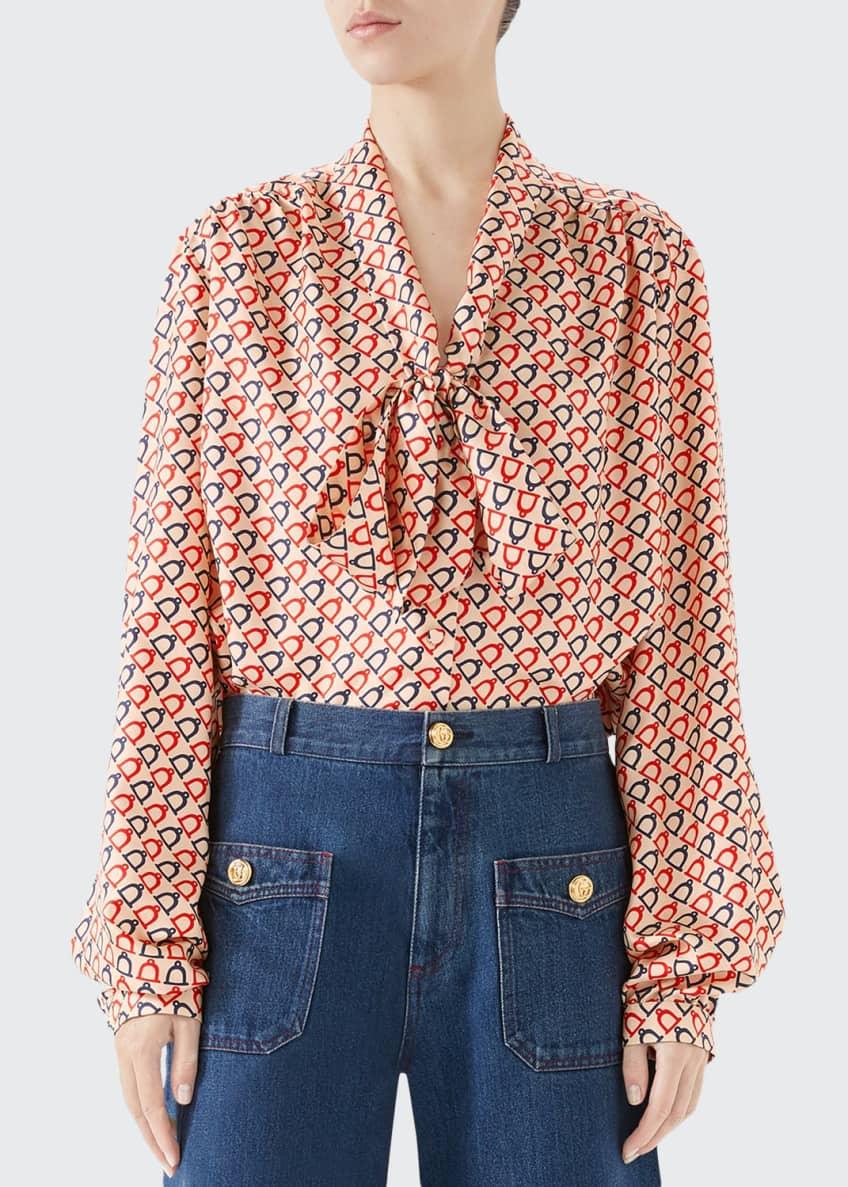 Gucci Tie-Neck Diagonal Stirrup Print Twill Shirt &