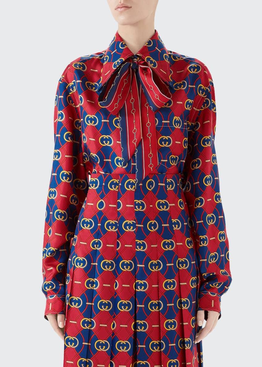 Gucci Rhombus Print Bowed Silk Top & Matching