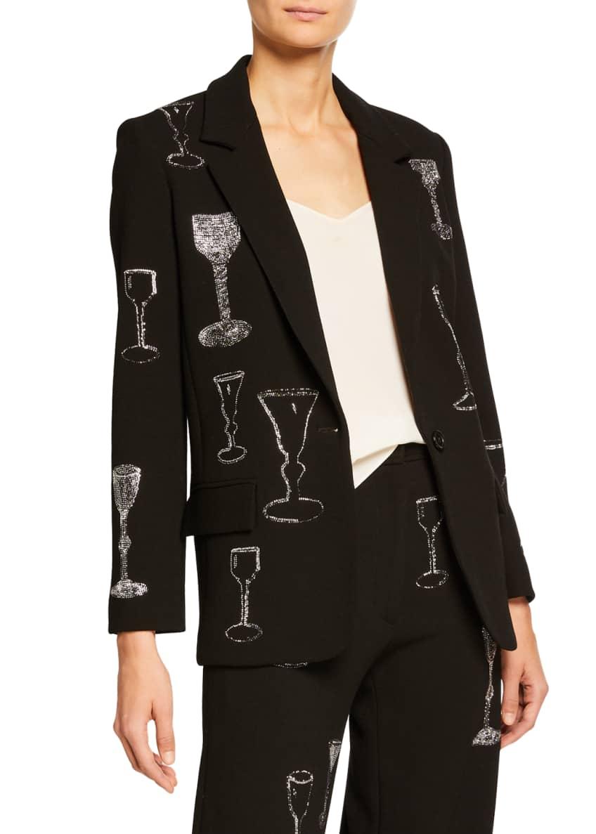 Libertine Sequined Stem Glasses Embellished Long Blazer &