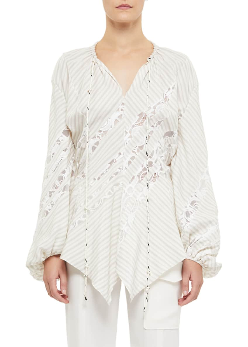Chloe Sheer-Striped Poplin Long-Sleeve Peasant Top & Matching