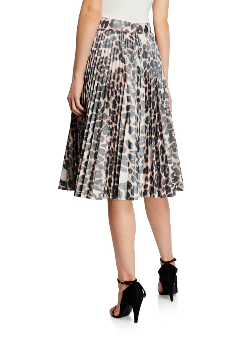 Image 2 of 3: Animal-Print Pleated Taffeta Skirt