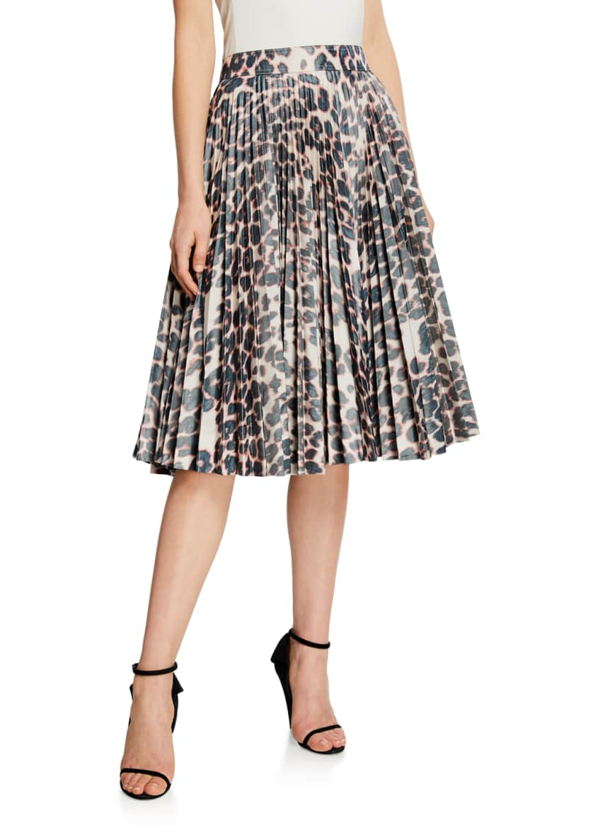 Image 1 of 3: Animal-Print Pleated Taffeta Skirt