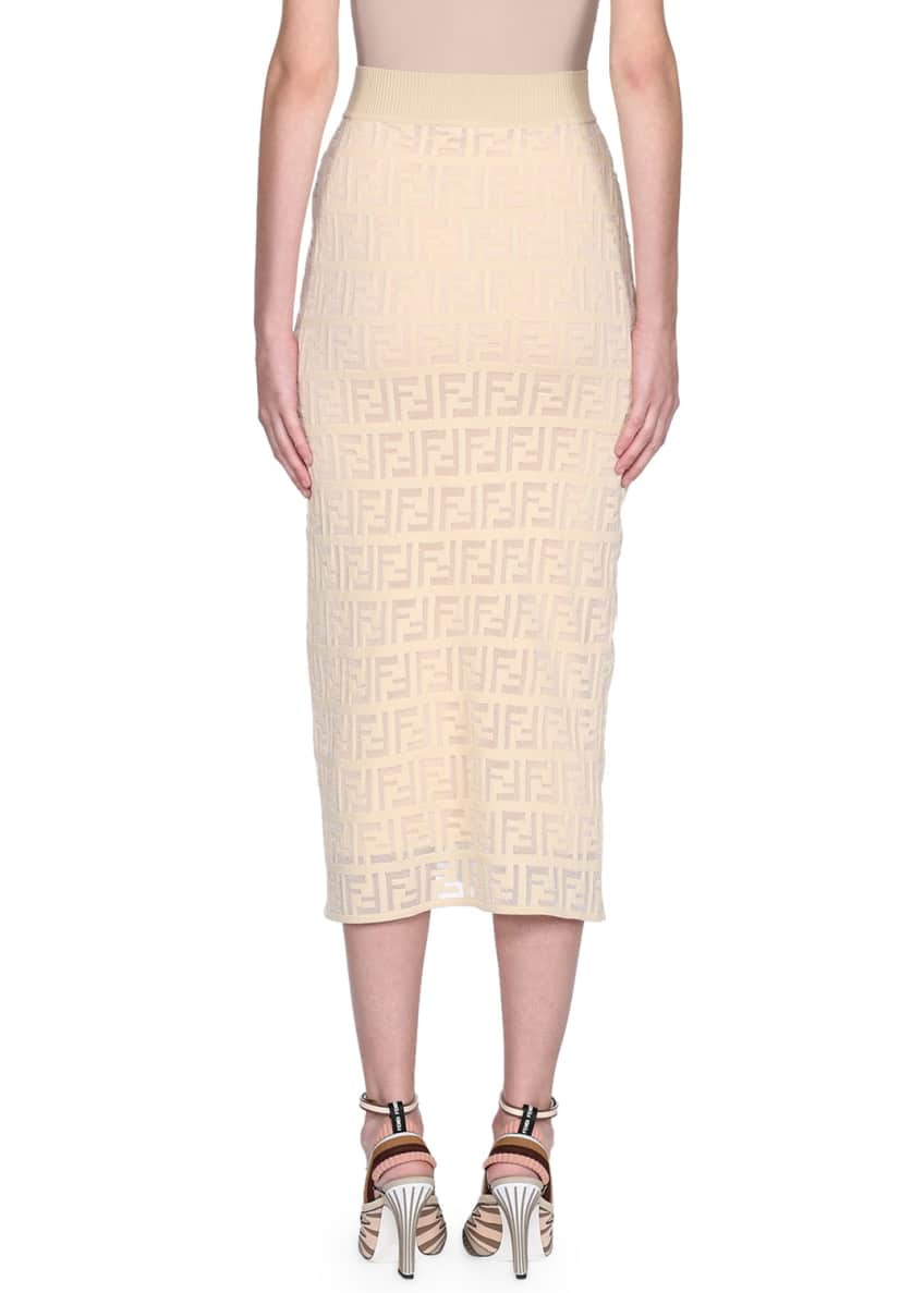 Image 2 of 2: Logo Embroidered Knit Pencil Skirt