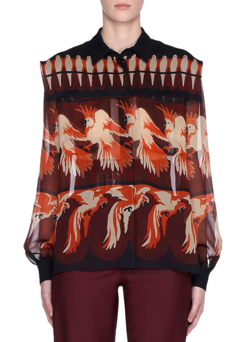 Fendi Bird-Print Long-Sleeve Silk Georgette Blouse & Matching