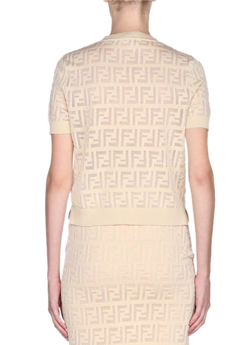 Image 2 of 4: Jacquard Short-Sleeve Knit Top