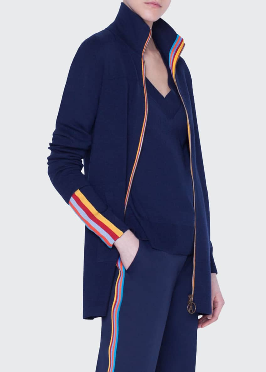 Image 2 of 4: Rainbow-Taped Milano Knit Duster Cardigan