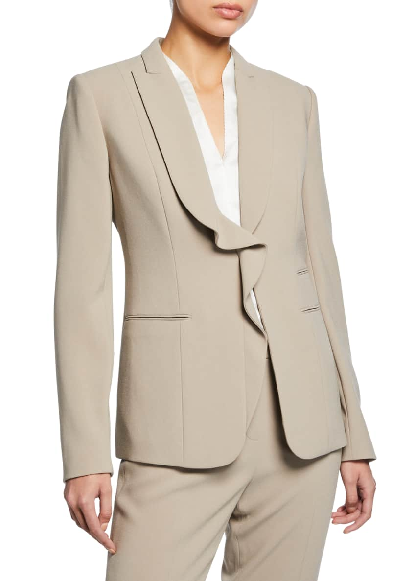 Elie Tahari Serena Ruffle Front Crepe Jacket &
