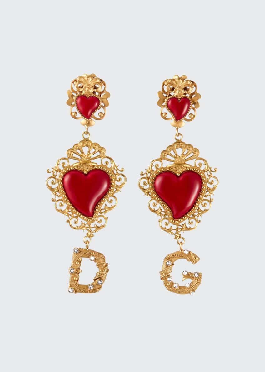 Dolce & Gabbana DG Double-Heart-Drop Earrings