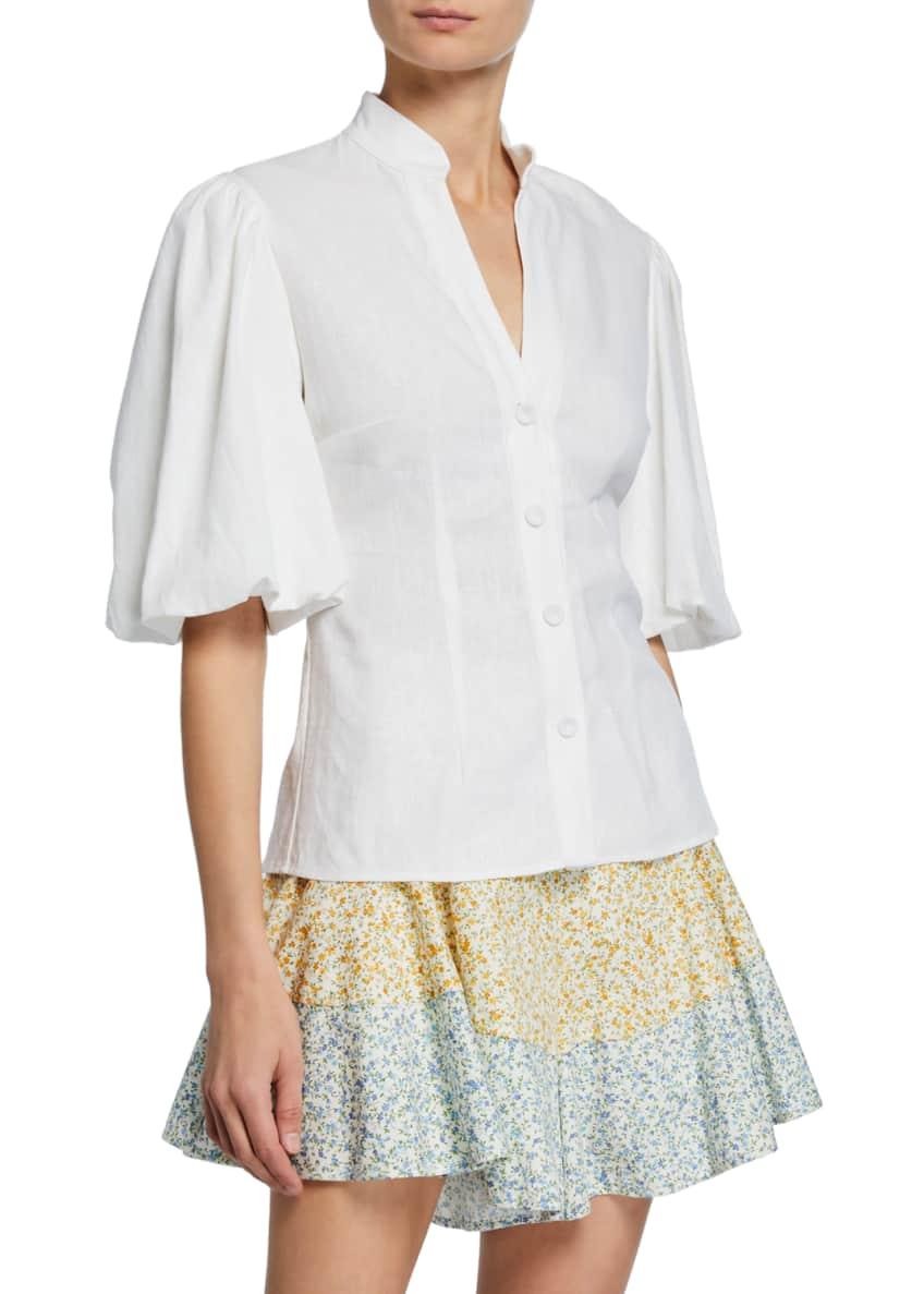 Petersyn Capri Mandarin Collar Button-Front Puff-Sleeve Top &