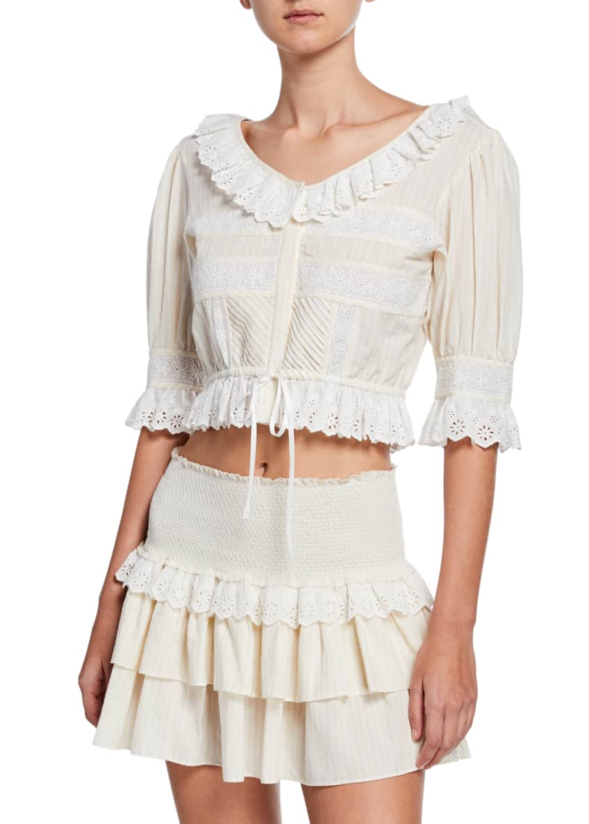 LoveShackFancy Tiana Cotton Eyelet Ruffle Crop Top &