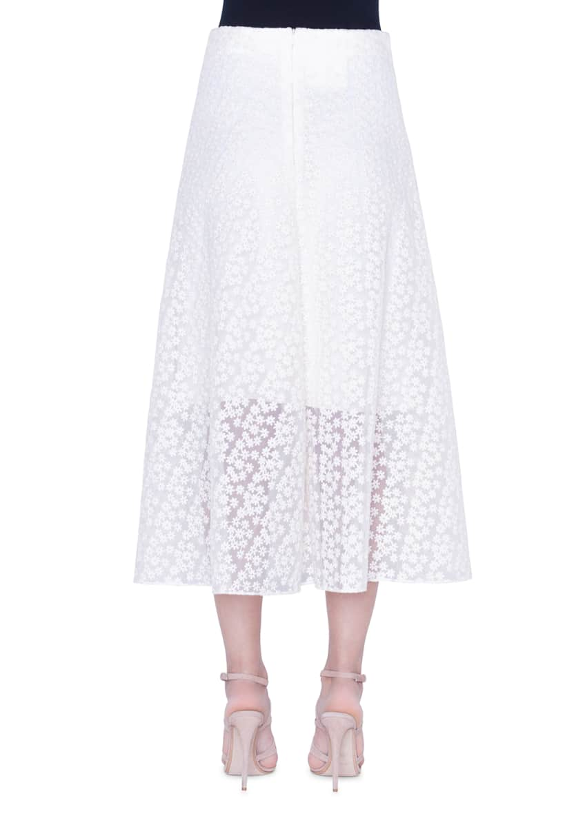 Image 2 of 2: Daisy-Embroidered Organza Skirt