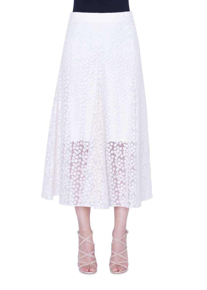 Image 1 of 2: Daisy-Embroidered Organza Skirt