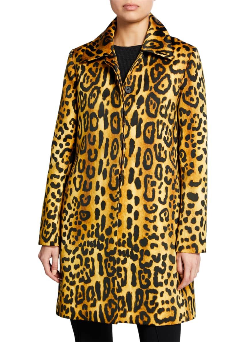 Adam Lippes Leopard-Print Duchess Satin Car Coat &