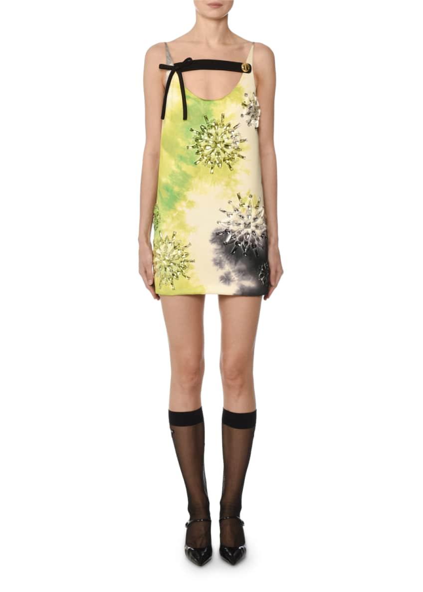 Prada Sleeveless Tie-Dye Beaded Mini Dress & Matching