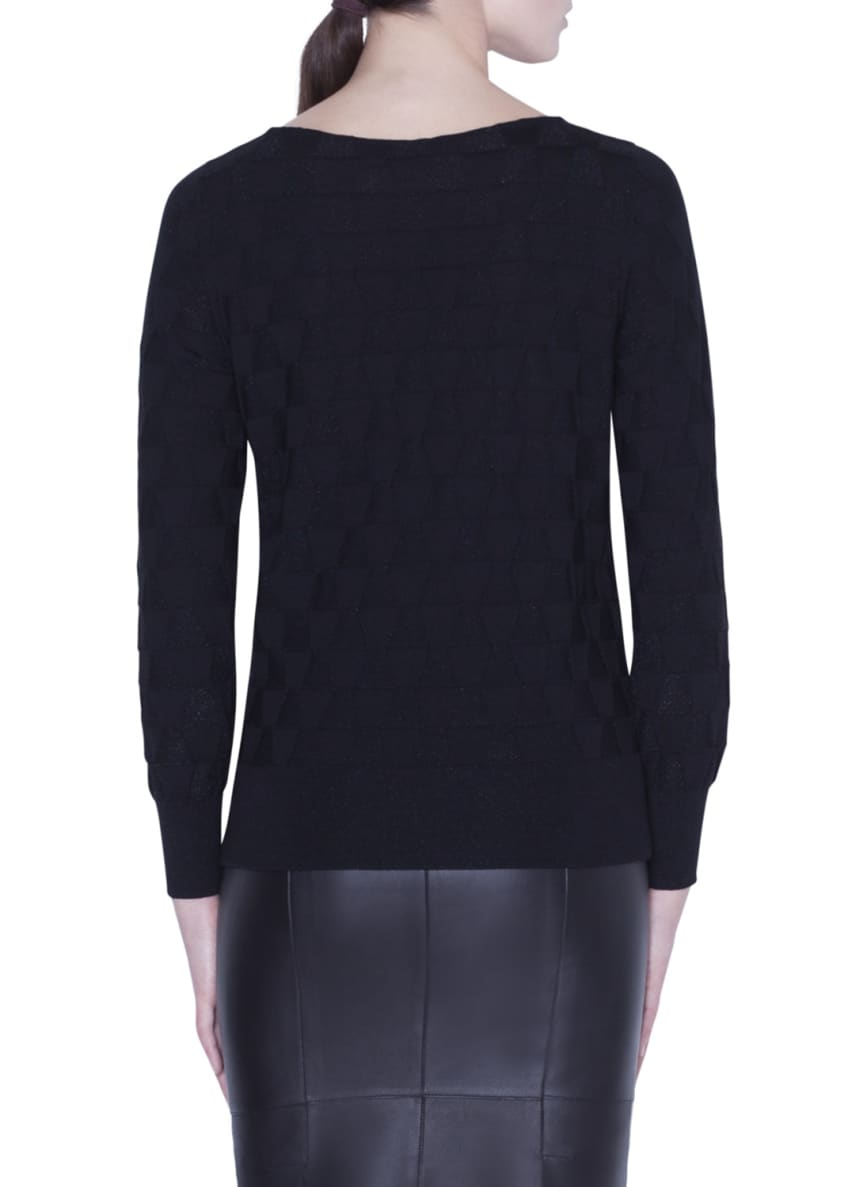 Image 3 of 5: Long-Sleeve Shimmer-Triangle Knit Top