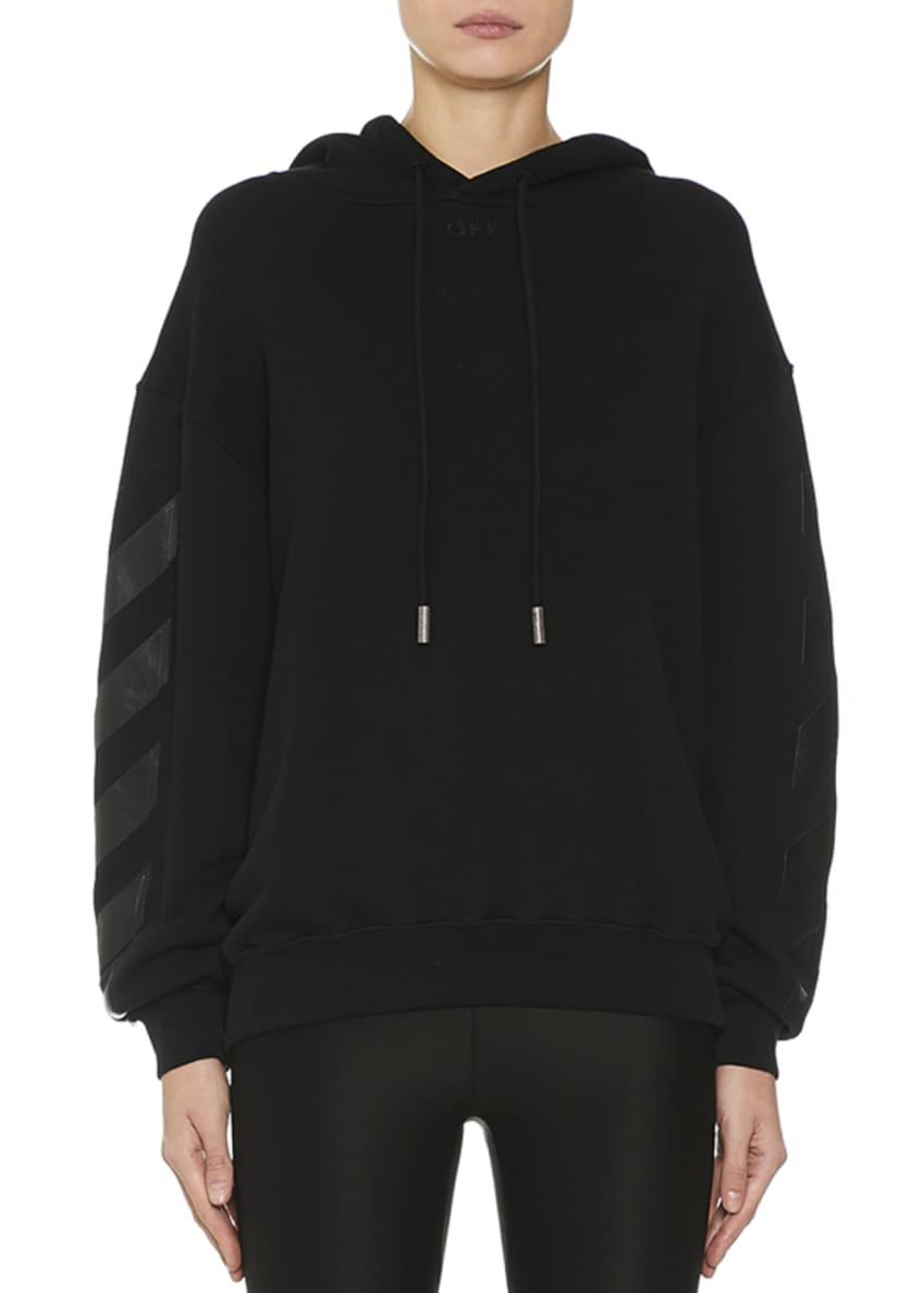 Off-White Diagonal-Striped Sleeve Hooded Sweatshirt & Matching
