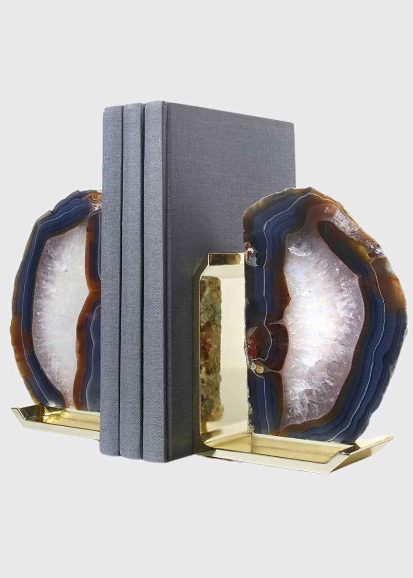 ANNA New York Fim Agate & Brass Bookends