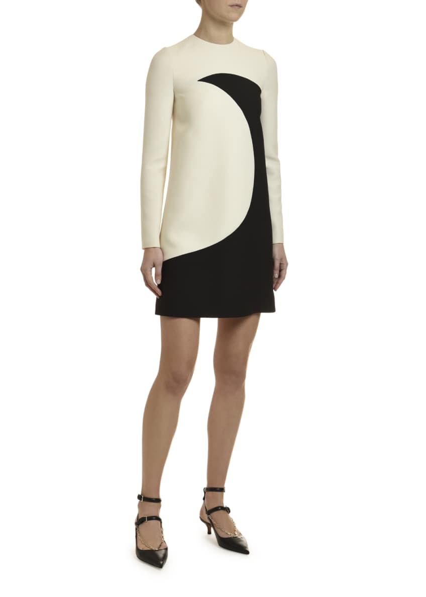 Image 4 of 4: Long-Sleeve Moon-Print Crepe Couture Dress