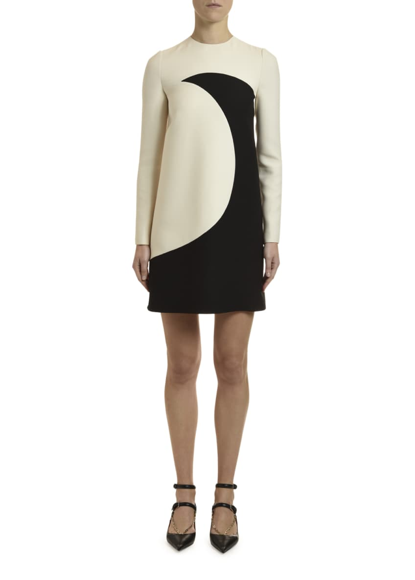 Image 1 of 4: Long-Sleeve Moon-Print Crepe Couture Dress