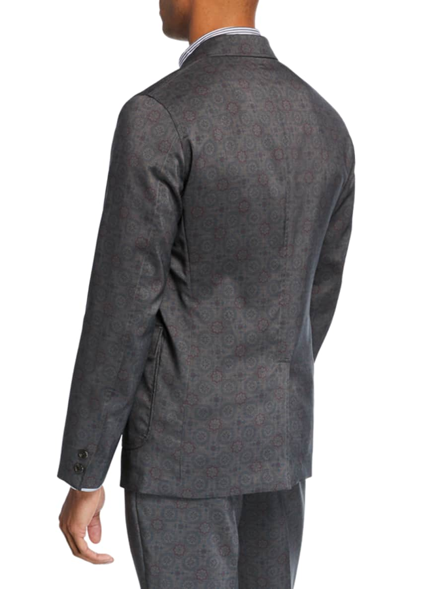 Image 2 of 3: Men's Geometric-Print Three-Button Jacket