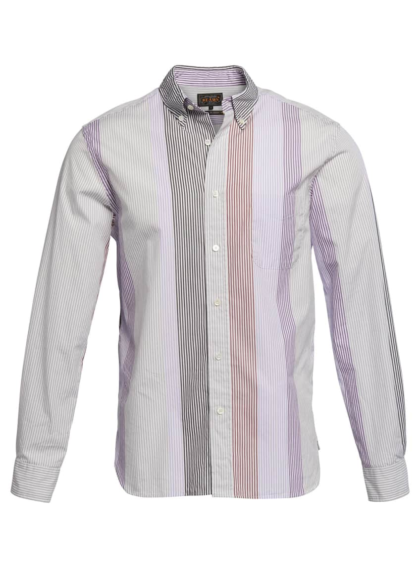 Image 3 of 3: Men's Multi-Stripe Poplin Sport Shirt