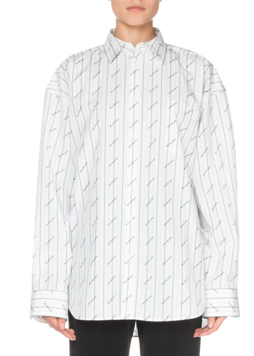 Balenciaga Logo-Print Striped Button-Front Shirt & Matching Items