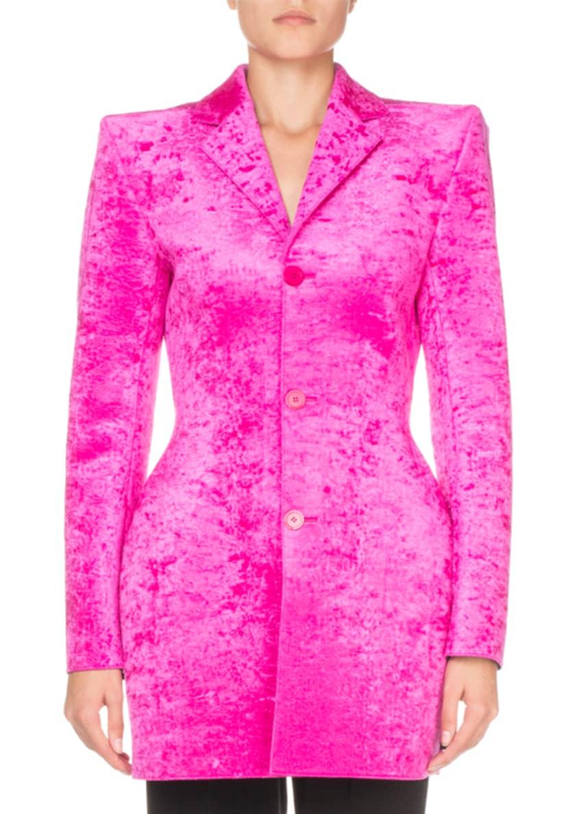 Balenciaga 3-Button Hourglass Velvet Blazer & Matching Items