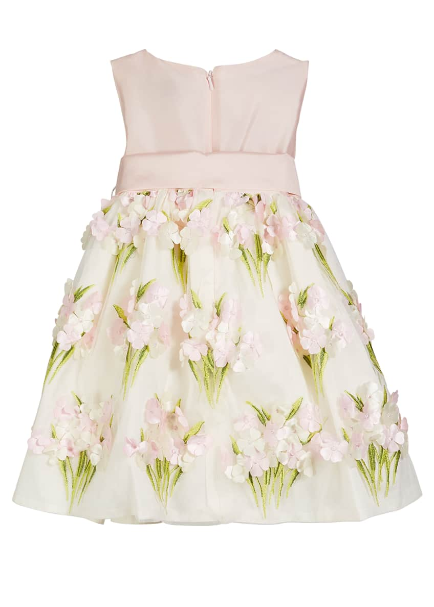 Image 2 of 4: Solid Bow Front Dress w/ Floral Bouquet Skirt, Size 12M-4T