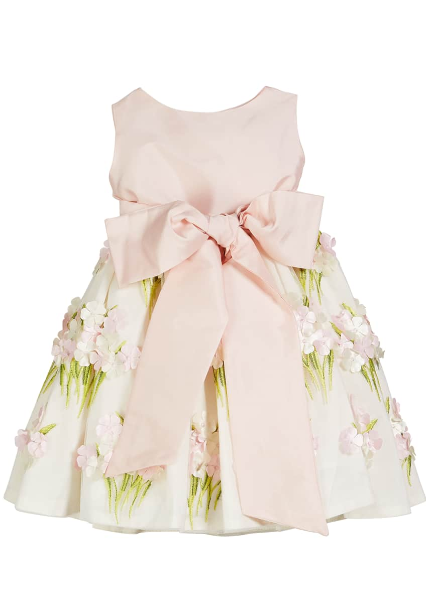 Image 1 of 4: Solid Bow Front Dress w/ Floral Bouquet Skirt, Size 12M-4T