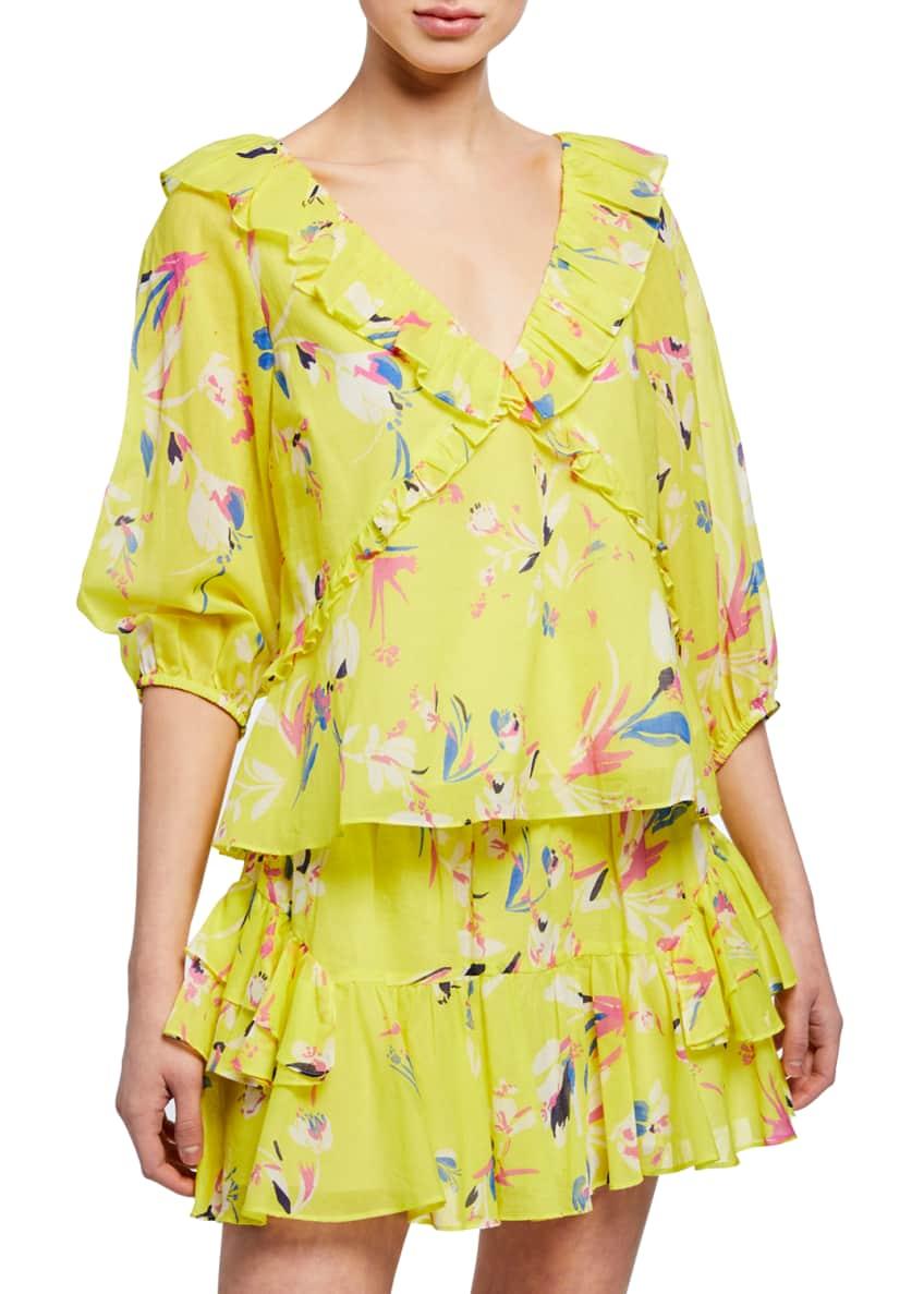 Tanya Taylor Lourdes Floral-Print V-Neck Half-Sleeve Ruffle Top