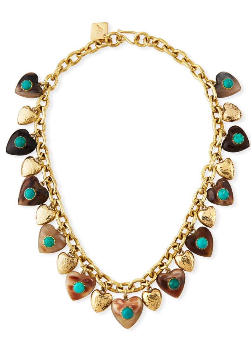 Ashley Pittman Makundi Heart-Charm Necklace w/ Turquoise