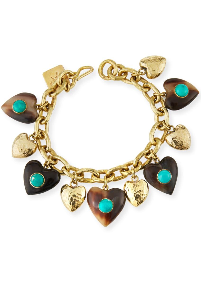 Ashley Pittman Makundi Heart-Charm Bracelet w/ Turquoise