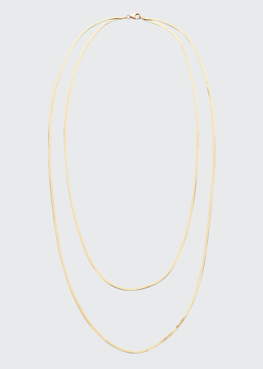 LANA 14k Gold Herringbone 2-Strand Necklace
