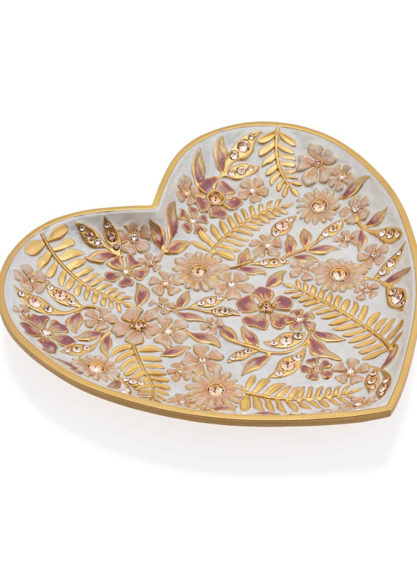 Jay Strongwater Boudoir Floral Heart Trinket Tray