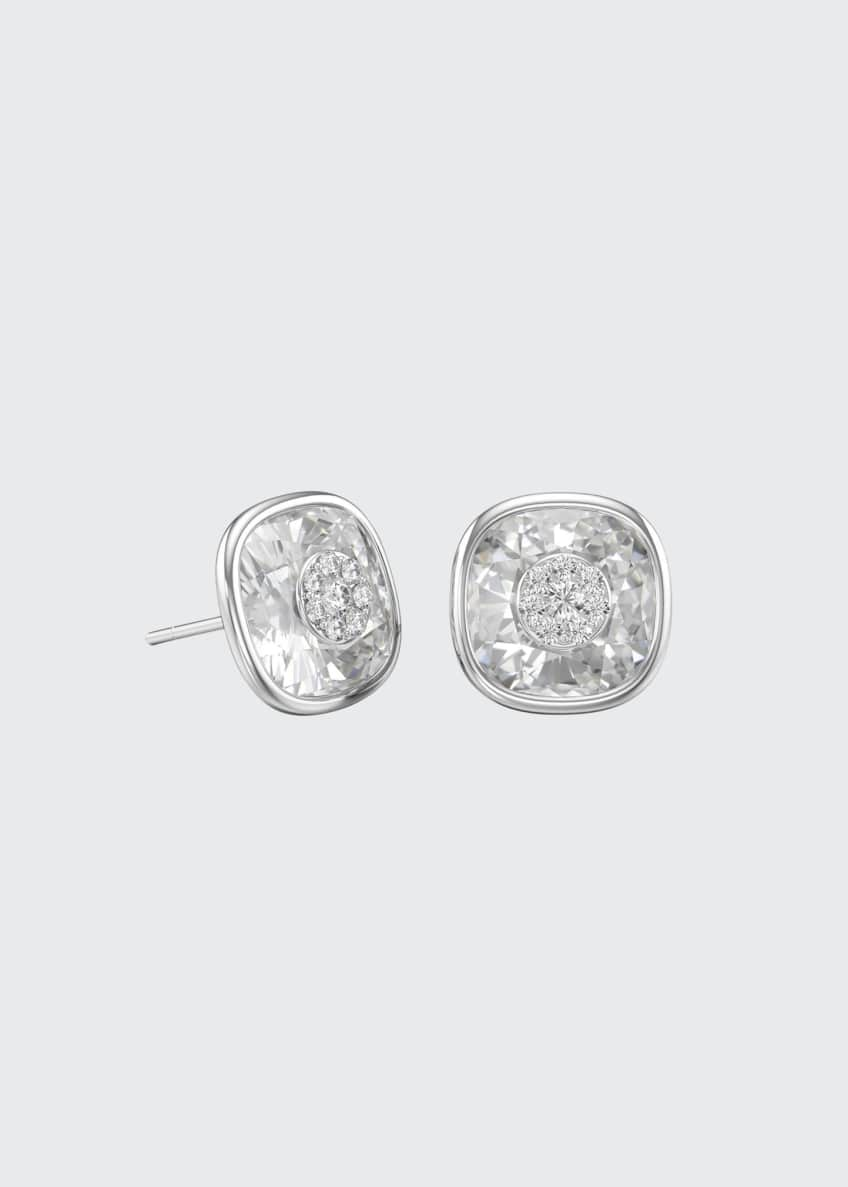 18k White Gold 10mm Cushion Stud Earrings w/ Diamonds