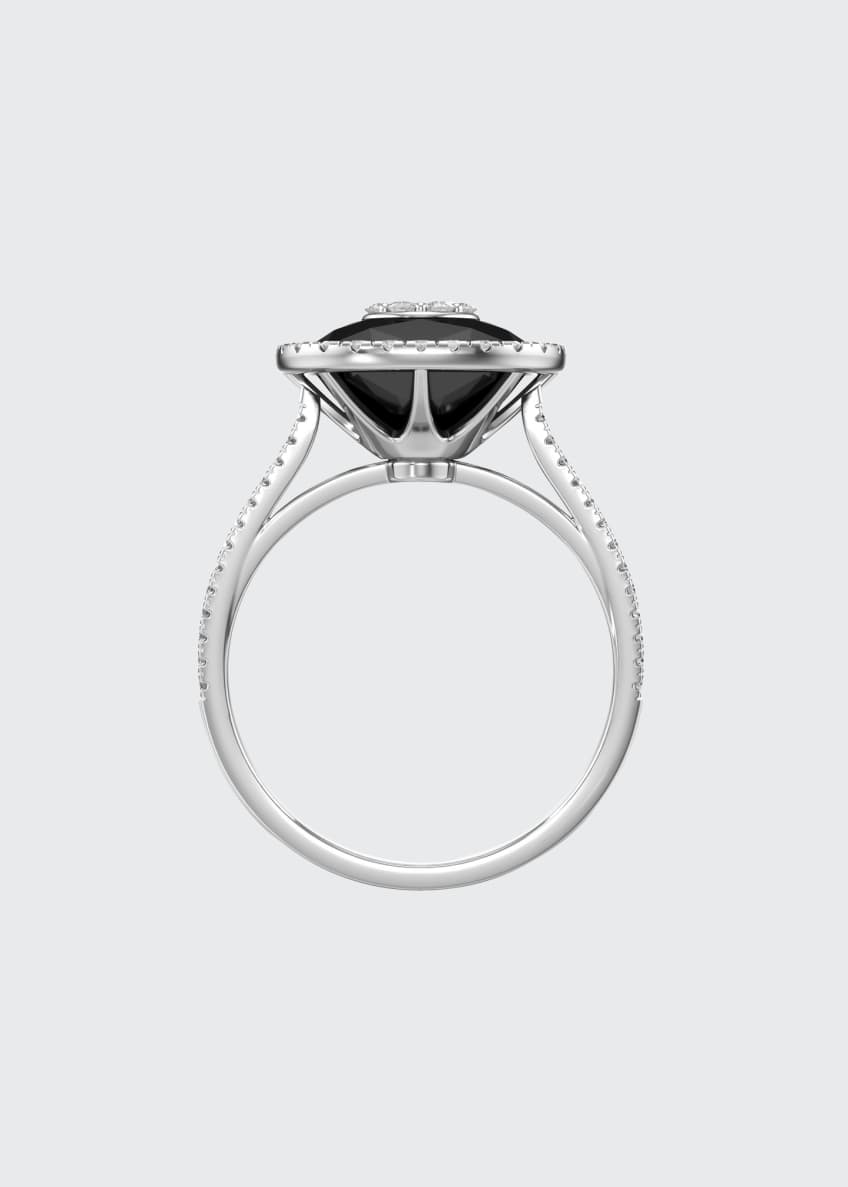 Image 2 of 4: 18k White Gold 10mm Cushion-Cut Ring w/ Diamonds, Size 6.5