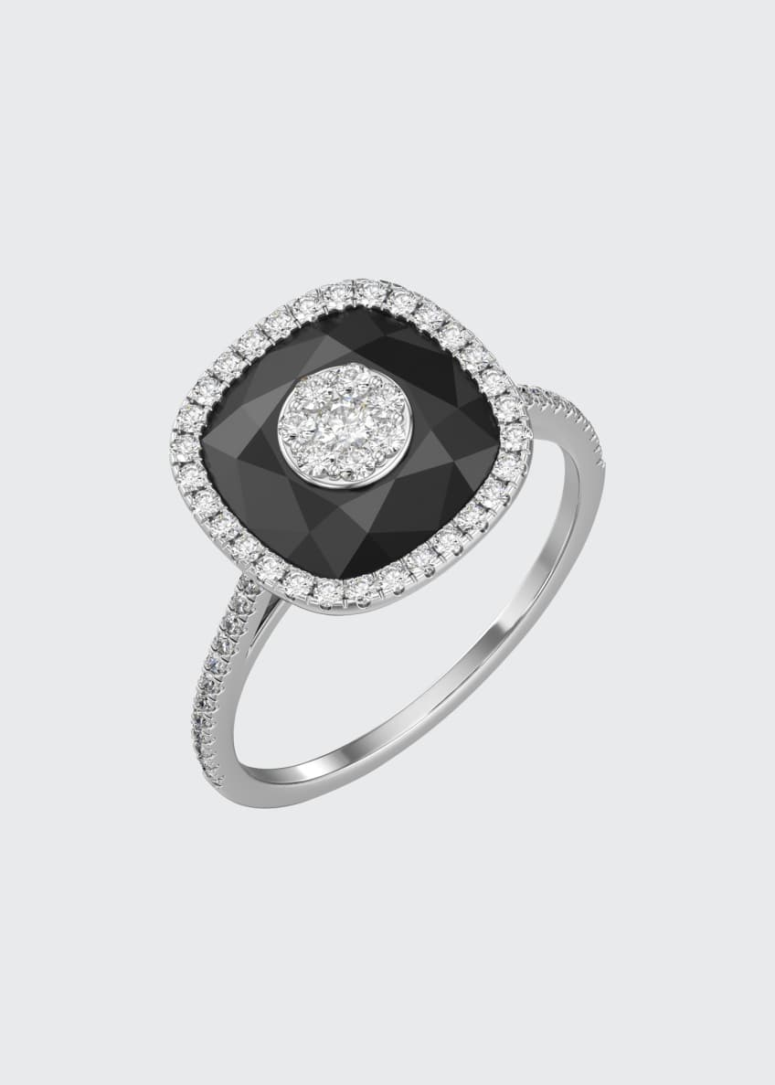 Image 4 of 4: 18k White Gold 10mm Cushion-Cut Ring w/ Diamonds, Size 6.5