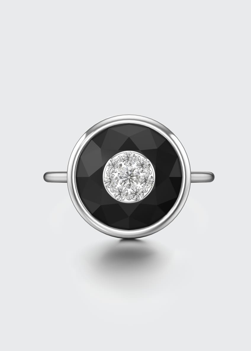 Image 3 of 3: 18k White Gold 10mm Round Ring w/ Diamonds, Size 6.5