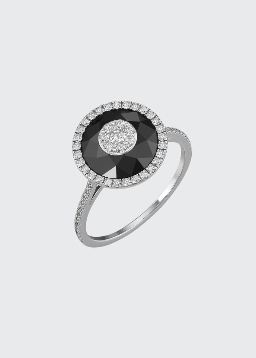Image 1 of 2: 18k White Gold 10mm Halo Ring w/ Diamonds, Size 6.5